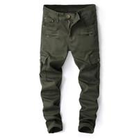 армейские брюки тонкие оптовых-Армия 2018 новый бренд мужская джинсы тонкий Fit мульти карман дизайнер джинсовые брюки мужчины упругой полосы джинсы 8009#