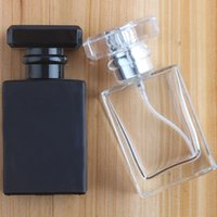 Wholesale essential oil glass sprayer bottle for sale - Group buy 30ml Black Clear Square Glass Essential Oil Perfume Bottle Mist Pump Spray Bottle Liquid Toiletry Diffuse Container