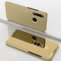 Wholesale honor view flip cover for sale – best Mirror Plating View Window Case Stand Flip Leather Plastic Cover For Huawei Mate pro mate lite Y5 Y6 Honor X