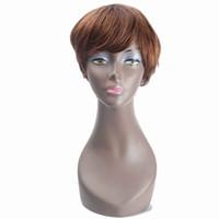 insan saç peruk kahverengi patlıyor toptan satış-Kadınlar Için brezilyalı Düz Saç Peruk Kısa Bob İnsan Saç Peruk Ile Bang Yan Kısmı ZXTRESS Ombre Kahverengi Sarışın renk