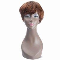 ingrosso parrucca laterale brasiliana-Parrucca brasiliana capelli lisci per le donne Parrucche capelli umani Bob con parte laterale Bang ZXTRESS Ombre marrone colore biondo