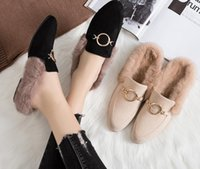Wholesale suede moccasins women resale online - Fashion Luxury Women Suede Mules Real Fur Round Buckle Lazy Slippers outdoors Loafers Princetown Leather Slipper with Box