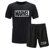 Wholesale exercise shirts for sale - Men Summer Tracksuits Marvel Printed T Shirt and Shorts Sets Exercise Fitness Casual Mens Short Sleeve Tracksuit