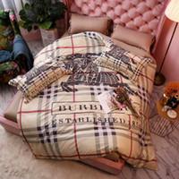 ropa de cama púrpura simple al por mayor-Brand Design Classic BBR 4 piezas de ropa de cama de alta calidad de lujo suave Comfortab Summer Cover + hoja plana + fundas de almohada Textiles para el hogar ropa de cama