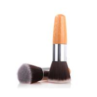 pinceau de maquillage tête plate achat en gros de-Premium Bamboo brosses cheveux plat doux cheveux synthétiques blush fondation pinceau outils de maquillage expédition de baisse