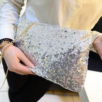 bolso de chispa negro al por mayor-Señoras de las mujeres Glitter Lentejuelas Bolso Fiesta Chispeante Noche Bolso de Embrague Bolso de Mano Monedero Negro Oro Plata