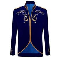 ingrosso blazer britannico sottile-Cappotto elegante adatto del vestito dello sposo di cerimonia nuziale del ricamo del velluto dell'oro del velluto nero di modo di principe di stile britannico bello