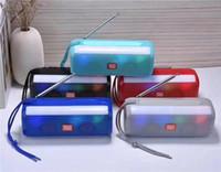 aydınlatma antenleri toptan satış-TG Serisi TG144 Kablosuz Bluetooth Hoparlör Mini Protable LED Işık Flaş Mp3 Müzik Çalar Radyo Anten Ile Tablet PC Için Akıllı telefon