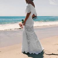 Wholesale bell line wedding dress resale online - Strapless White Lace Boho Floor Leng Dresses Short Sleeves Sheath Beach Bridal Dresses Mermaid Wedding Elegant robe dentelle