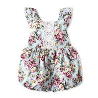 Wholesale broken flowers girl resale online - Little Girl One Piece Culottes Kids Designer Clothes Girls Broken Flowers Lace Small Flying Sleeve Jumpsuits Kids Clothes KG