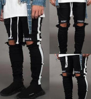 Wholesale new style skateboard for sale - New Mens Jean Pantalones Street Black Holes Designer White Stripes Jeans Hiphop Skateboard Pencil Pants