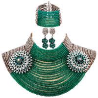 yeşil kostüm takı kolyeleri toptan satış-Yeni 25 Katmanlar Gümüş Ordu Yeşil Teal Yeşil Afrika Boncuk Takı Seti Kostüm Kolye Setleri Kristal Parti Takı Setleri 25R08