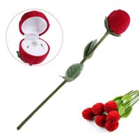 verlobungsring red box rose großhandel-Romantische rote rose blume ring boxen ohrringe schmuck geschenkbox für verlobung hochzeit dekoration valentinstag dekor liefert