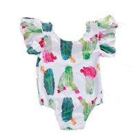 Wholesale flying flowers resale online - Girl Flower Print Flying Sleeve Cartoon Cactus Short Sleeve White Childrens Breathable Jumpsuit Girl Chiffon Romper