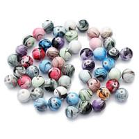 coeurs dos plat en résine achat en gros de-100 Pcs / Lot 8mm résine ronde Perles En Vrac coloré DIY Accessoires faits à la main Résultats de bijoux Composants en gros perles en vrac