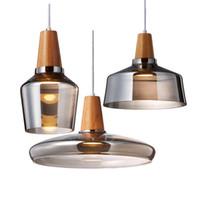 luzes pendentes vintage lâmpada de madeira venda por atacado-Vidro moderno Led pingente luminária com madeira rústica Vintage Hanging Lamp Para Cafe Bar Restaurante Home Deco Loft Lighting