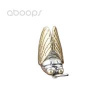 colgantes de la cigarra al por mayor-Vintage 925 Sterling Silver Cicada colgante Gold Wing para hombres mujeres envío gratis