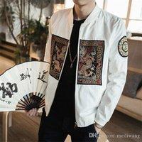 abrigo de dragón chino al por mayor-Abrigos para hombre de estilo chino Dragón bordado Slim Fit Chaqueta de aviador Clásico Retro Pan Kou Chaquetas de manga larga Hombres 5XL-M