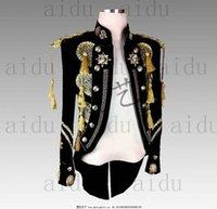 mais tamanho tailcoat venda por atacado-XS ~ 3XL !!! Moda masculina rock masculino cantor terno Tailcoat bar personalidade showers apresentadores plus size terno trajes cantor