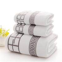d437f38d1d 3 pezzi / set di lusso 100% cotone morbido assorbente per adulti casa asciugatura  rapida asciugamani di base 2 telo da bagno + 1 asciugamano viso set