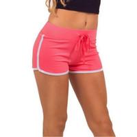 estilo de yoga coreano al por mayor-Verano coreano estilo de la calle mujeres yoga deporte pantalones cortos elásticos de la venta caliente desgaste de la playa de cintura alta pantalones cortos sólidos para mujer