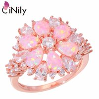 ingrosso cristallo d'oro di ciliegio-Cinily Lavish Large Pink Fire Opal Anelli con pietra Rose Gold Color Clear Crystal Flower Flora Cherry Blossom Jewelry Woman Girl T190627