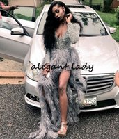Wholesale evening dresses ostrich feathers for sale - Group buy Ostrich Feather Prom Dresses A Line Long Sleeves Plunging V Neck Side Split Sparkly Evening Gowns Plus Size Formal Party Dress