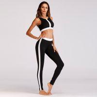 sportswear actif pour les femmes achat en gros de-2019 Stripe entraînement Vêtements femme Yoga Leggings Set sport Patchwork Sport Costume Fitness Gym Vêtements Femme Active Wear Crop