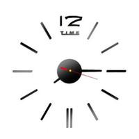 черные современные настенные часы оптовых-SUPEWOLD DIY Large Number Wall Clock, 3D Mirror Surface Modern Home Office Art Decoration(Black)