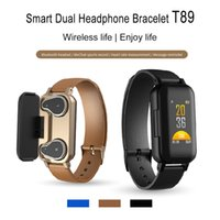 Wholesale heart rate blood pressure resale online - T89 Smart Bracelet TWS Earbuds Bluetooth Earphones Fitness Tracker Heart Rate Wristband Sport Watch for IOS android Smartphones with Box