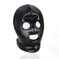 máscaras de couro para os olhos venda por atacado-Preto Faux Leather Voltar Lace Up Fetish capô aberto Olhos e Boca Aberta Gothic Gimp Slave Role Play Cabeça Máscara Traje Masqrade