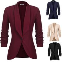 one button fitted blazer toptan satış-Giyim, Ayakkabı Aksesuar Bayan Şal Yaka 3/4 Dantelli Kol Düz Bir Düğme Slim Fit Casual Blazernew