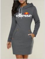 uzun hoodie elbiseleri toptan satış-İnce Tip Elbise Popüler Hoodie Ellesse Kapşonlu Yüksek Yaka Kadınlar Uzun Kollu Kazak