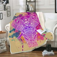Wholesale queen elephant bedding for sale - Group buy Bohemia Elephant Throw Blanket Soft Fleece Winter Printed Blankets for Decorative Bed Sofa Adult Children Warm