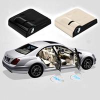 bmw ledli kapı ışıkları toptan satış-Kablosuz Led Araba Kapı Hoşgeldiniz Lazer Projektör Logo GhosShadow Işık Volkswagen Ford BMW için Toyota Mercedes-Benz Mazda VW Ücr ...