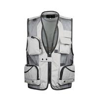 чёрный карманы оптовых-2019 Летний туристический жилет Mesh Vest XL-5XL Фотография мульти-карман оптом черный / хаки / армейский зеленый светло-серый