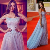 hafif ışıltılı balo elbiseleri toptan satış-Sparkle Açık Mavi Gelinlik Modelleri Spagetti sapanlar Tül payetli şık Abiye Giyim 2020 Kırmızı Halı Elbise