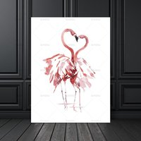 Wholesale giclee art painting for sale - Group buy Canvas Painting Poster Art Print on Watercolor Flamingo Wall Pictures for Home Decoration Giclee Print Wall Decor no frame