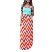 xxl größe maxi kleid großhandel-2019 Striped Print Lange Kleider Feminine Plus Size S-XXL Frauen Kleidung Frauen Sommer Strand Boho Maxi-Kleid