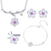Wholesale cherry jewelry sets for sale - Group buy Romantic Sterling Silver Jewelry Sets Poetic Daisy Cherry Blossoms Flower Necklace Earrings For Women Jewelry bijoux femme