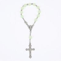 ingrosso perline religiose di plastica-New Trendy Plastic luminoso perlina rosa Bead cattolico rosario croce pendente braccialetto per le donne gioielli braccialetti regali religiosi