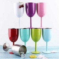 ingrosso bicchieri di vino novità-Bicchieri da vino in acciaio inox 10 bicchieri a doppia parete isolati Oz Bicchiere da vini rossi Bicchiere novità con tazze a coperchio infrangibili