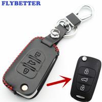 llaves hyundai ix35 al por mayor-FLYBETTER Funda con tapa giratoria de 3 botones de cuero genuino para Hyundai I30 / IX35 / Accent / I20 / Sonata / Solaris / Verna Car Styling L1576