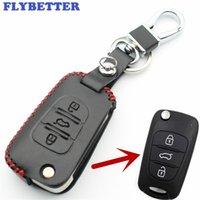 hyundai ix35 clés achat en gros de-FLYBETTER Véritable En Cuir 3Button Clé Flip Cover Cover Pour Hyundai I30 / IX35 / Accent / I20 / Sonata / Solaris / Verna Car Styling L1576