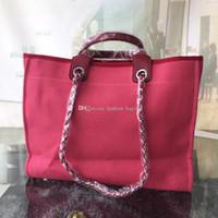 canvas embroidery оптовых-Модная женская сумка из плотной ткани с классической вышивкой Сумки для покупок Кожаная высококачественная цепная сумка Crossbody Пляжная сумка Код