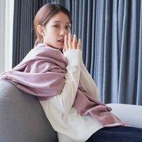 ingrosso cadono gli scialli sciarpe invernali-Autunno / inverno 2019 nuovo fiore di colore solido imbottito caldo cachemire scialle sciarpa nappa sciarpa di stile coreano