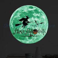 Wholesale cartoon walls home resale online - Halloween PVC Wall Sticker Home Room Background Wall Window Glass Luminous Moon Removable Decoration Decal Party DIY Handicrafts