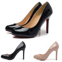 saltos altos online venda por atacado-Moda Feminina Sapatos De Salto Alto 10 cm Designer De Marca De Fundo Redondo De Couro Rodada Toes Preto Vermelho Clássico Bombas Sapatos de Vestido Tamanho 35-42 On-line