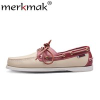 sapatos confortáveis masculinos venda por atacado-Merkmak primavera sólida dos homens barco calçados de moda genuína loafers de couro slip onlace up sapatos casuais homem confortável sapatos preguiçosos