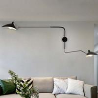 endüstriyel tasarımcılar toptan satış-Siyah Beyaz Retro Loft Endüstriyel Vintage Duvar Lambaları Fransız Tasarımcı Ev Dekorasyon Için Aplik Duvar Işıkları Dönen